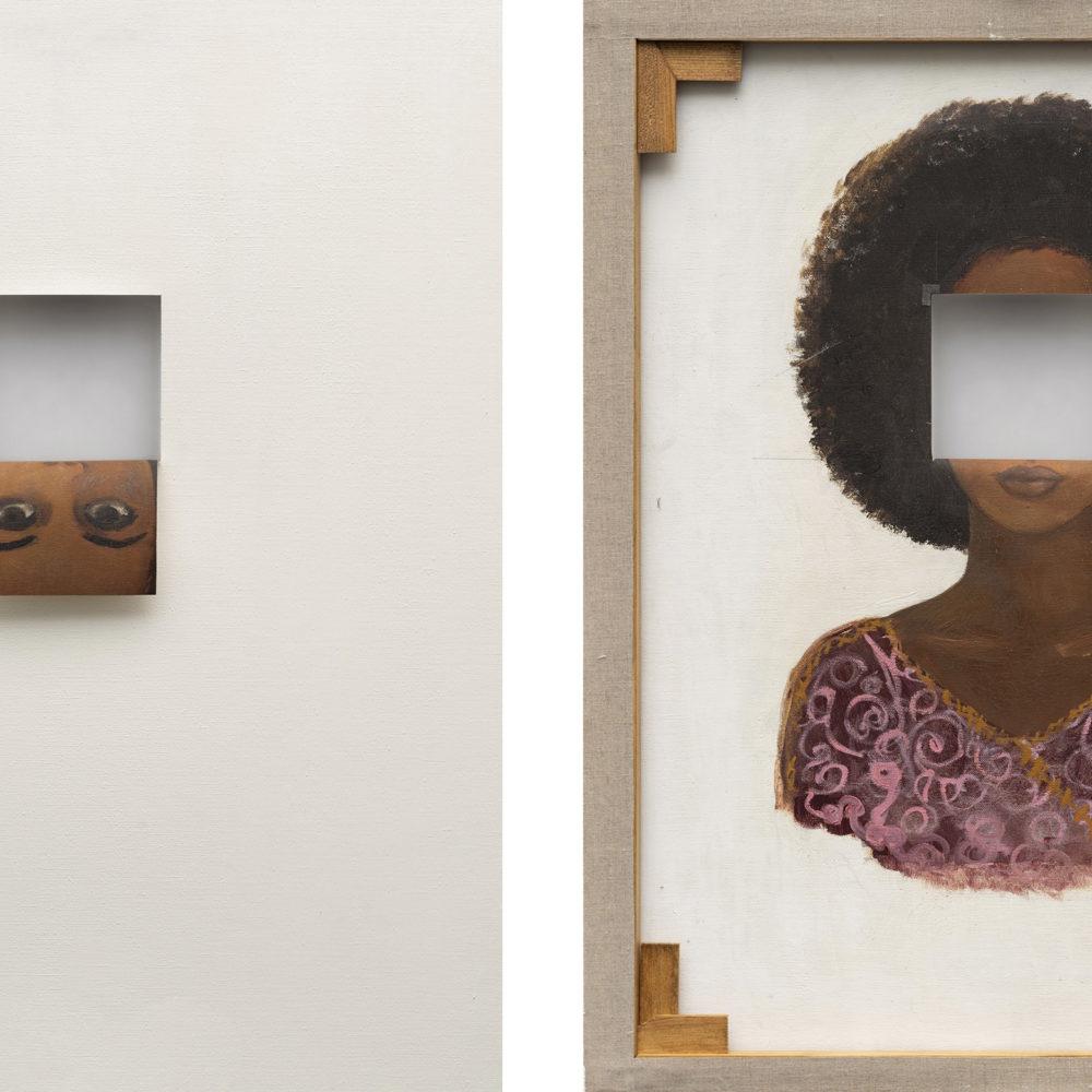 Valeska Soares, <i>Duplaface (Branco de titânio)</I>,2017. Oil and cutout on existing oil portrait, 71 x 56cm. Courtesy MASP